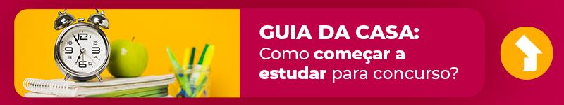 """Banner do post com imagem de cadernos e relógio, acompanhado do texto """"Guia da Casa: Como começar a estudar para concurso?"""""""